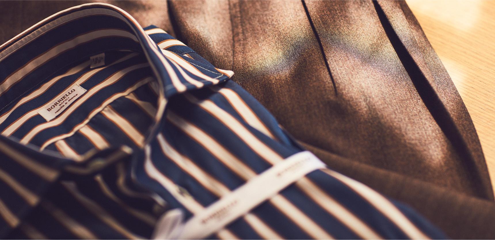 紳士服に合う、シャツブランドBORRIELLO(ボリエッロ)のハンドメイドシャツをTHE G'S HIDEOUT.(ザ・ジーズ・ハイドアウト)でオーダーをする事が出来ます。